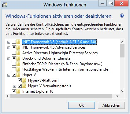 Windows-Features mit Hyper-V