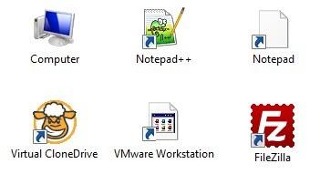 windows 7 desktop symbole weg