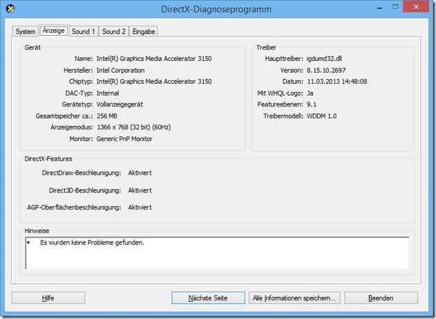 how to open dxdiag in windows 8
