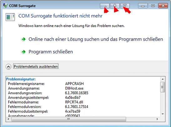 Com Surrogate Funktioniert Nicht Mehr Windows 7