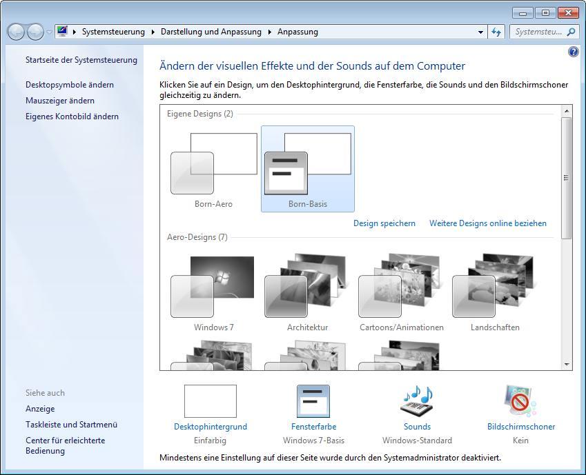 Windows 7 desktop hintergrund nicht anderbar