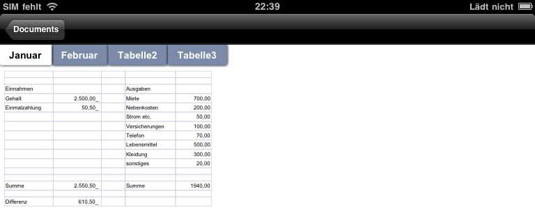 Documentanzeige (Excel)