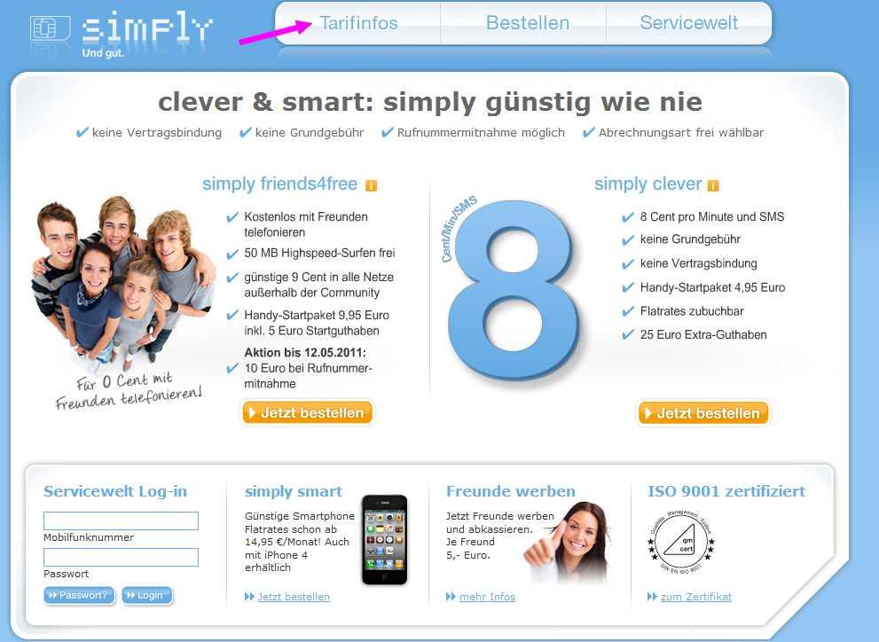 SimplyTel Startseite