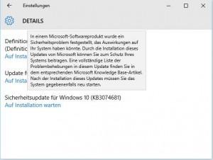 windows 10 update auf installation warten