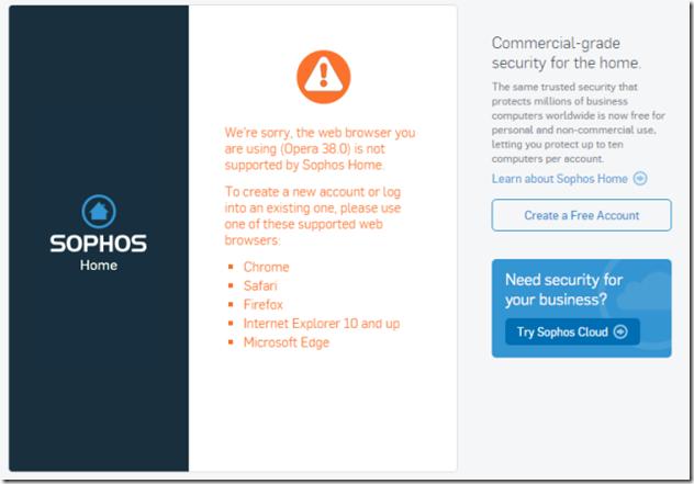 Sophos Dashboard kein Opera