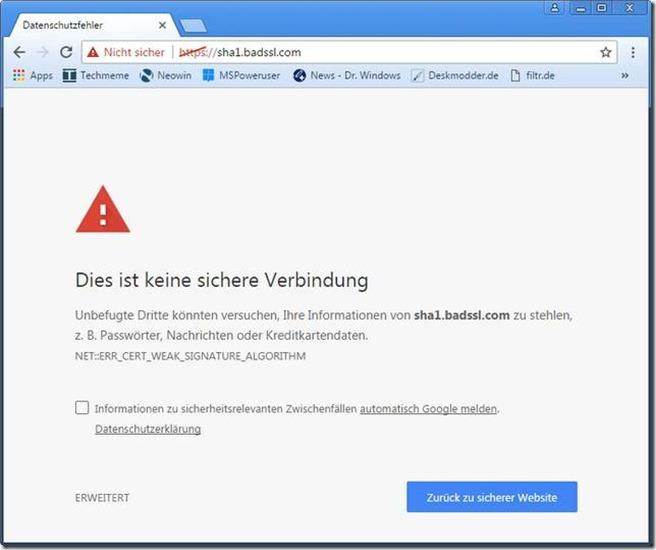 Bad SHA-1 SSL website