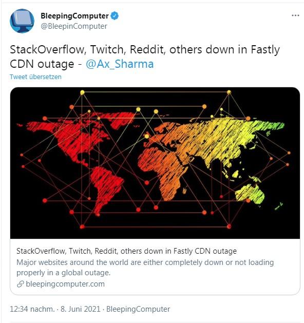 Fastly CDN Ausfall